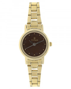 Titan Brown Dial Stainless Steel Strap Watch For Women - 917Ym13