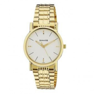 Sonata 7987YM05 White Dial Analog Watch For Men - Gold