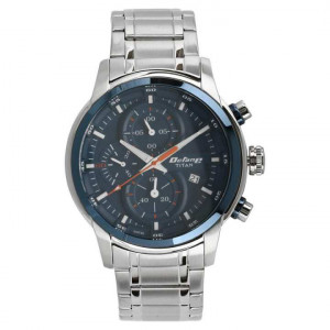 90086KM01 Blue Dial Chronograph Watch For Men- Silver