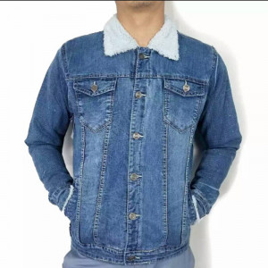 Denim Jeans fur Jacket for men -  Blue