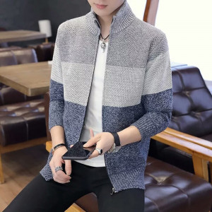 Men's Classic Long Sleeve Full Zip up Fleece Knitted Cardigan Sweaters Multicolour