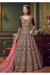Stylee Lifestyle Maroon Silk Blend Embroidered Dress Material (1921)