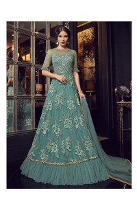 Stylee Lifestyle Teal Net Embroidered Dress Material  (1923)