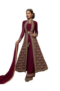 Stylee Lifestyle Maroon Georgette Embroidered Dress Material   (1926)
