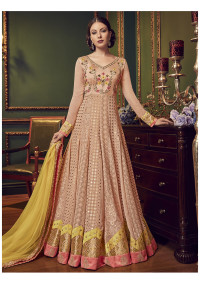 Stylee Lifestyle Peach Georgette Embroidered Dress Material   (1928)