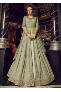 Stylee Lifestyle Green Georgette Embroidered Dress Material  (1930)