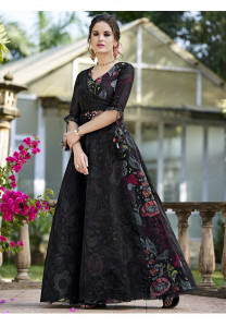 Stylee Lifestyle Black Floral Print With Resham Embroidered Gown Style -1957