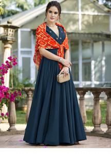 Stylee Lifestyle Navy Blue Embellished With Shibori Print Scarf Gown Style -1960