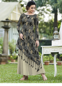 Stylee Lifestyle Grey Jacquard Woven Fabric With Designer Gown Style -1962