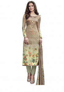 Stylee Lifestyle Beige Satin Printed Dress Material - 1869
