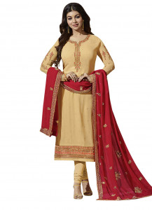 Stylee Lifestyle Beige Georgette Embroidered Dress Material - 1879