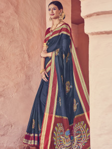 Stylee Lifestyle Women's Kalamkari Navy Blue Silk Saree with Blouse Piece-1949