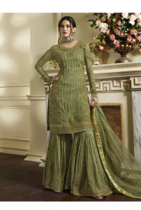 Stylee Lifestyle Green Satin Embroidered Dress Material -1981