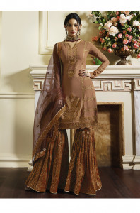 Stylee Lifestyle Rust Satin Embroidered Dress Material -1982