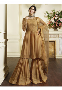Stylee Lifestyle Light Brown Satin Embroidered Dress Material-1984