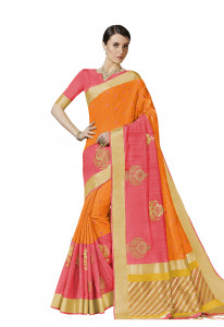 Stylee Lifestyle Orange Bhagalpuri Silk Jacquard Saree -2020