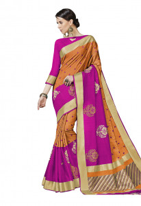 Stylee Lifestyle Orange Bhagalpuri Silk Jacquard Saree -2022
