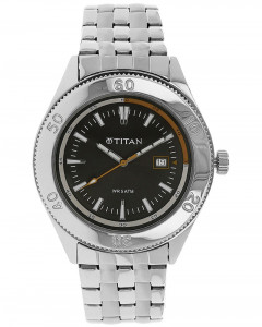 Titan Black Dial Stainless Steel Strap Watch - NE9324SM06J