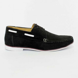 3917 Suede Casual Boat Shoes For Men- Black