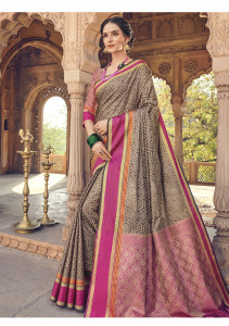 Stylee Lifestyle Brown Banarasi Silk Jacquard Saree - 2055