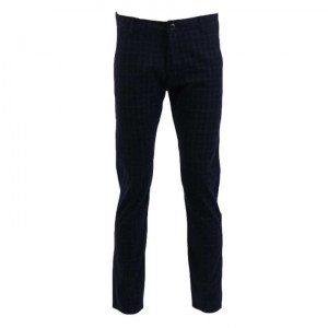 Slim Fit Check Chinos Pant For Men-Dark Blue