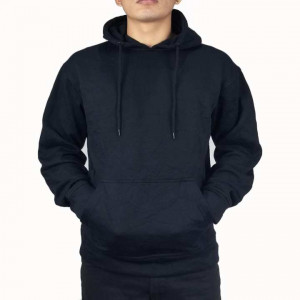 Men Plain Winter Hoodie (Black)