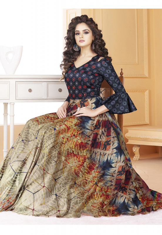 7b796e8fe1746f Buy Stylee Lifestyle Blue Black Printed Gown-1556 online at best price in  Nepal - Reddoko . com