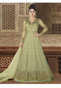 Stylee Lifestyle Green Color Printed Gown-1551