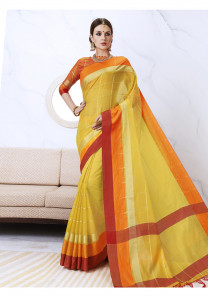 Stylee Lifestyle Yellow Kota Silk Woven Saree -1540