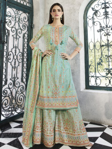 Stylee Lifestyle Turquoise Cotton Printed Dress Material-2095
