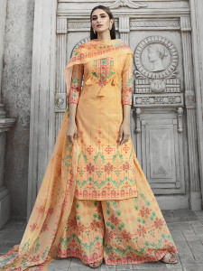 Stylee Lifestyle Peach Cotton Printed Dress Material-2096