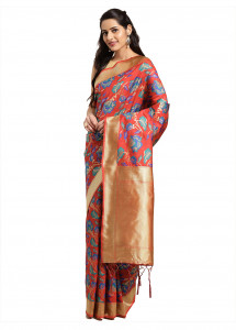 Stylee Lifestyle Red Banarasi Silk Jacquard Saree  - 2082