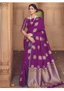 Stylee Lifestyle Purple Banarasi Silk Jacquard Saree - 2111