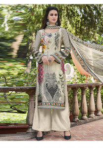 Stylee Lifestyle Beige Satin Printed Dress Material - 2101