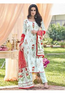 Stylee Lifestyle Sky Blue Satin Printed Dress Material - 2106