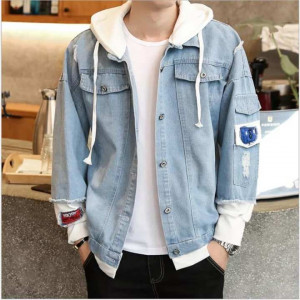 New Hooded Blue Denim Jacket For Men
