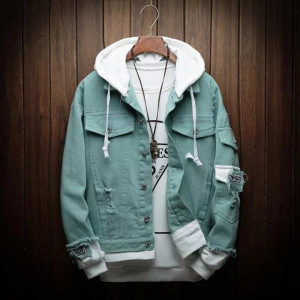 New Hooded Emerald Green Denim Jacket For Men