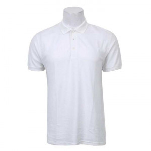 Solid Polo Neck T-Shirt For Men- White
