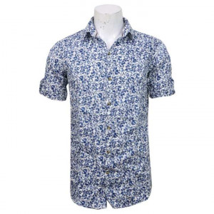 White/Blue Cotton Printed Shirt For Men
