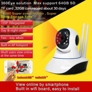 HD 720P 360 Eye Degree Panoramic WIFI Camera IP P2P Cam H.264 IR Night Vision 1 MP 3.66MM Lens For Home Office Security