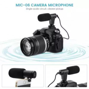 Camera Microphone, EIVOTOR Mic-06 3.5mm Digital Video Recording Microphone for D-SLR Camera, DV Camera, Mobile Phone and Computer, Black