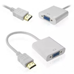 1080P Video Converter HDMI Male To VGA Female Adapter Cable-White