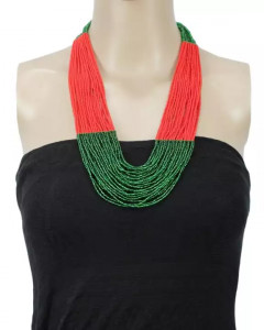 Red/Green Multilayered Beads Woven Pote Necklace For Women