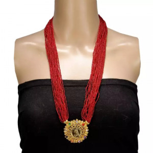 Red Woven Pote Necklace With Gold Pendent