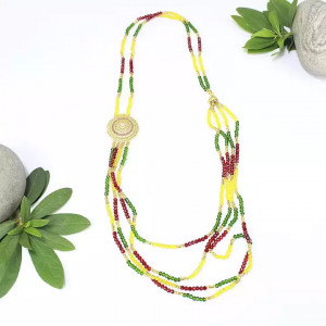 Red/Yellow/Green Beaded 'Rani Haar' Designed Pote Necklace For Women