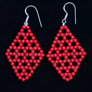 Red Beads Woven Diamond Shaped Earring