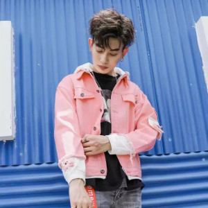 Autumn Denim Washed Retro Fashion Pink Men Street wear Jacket
