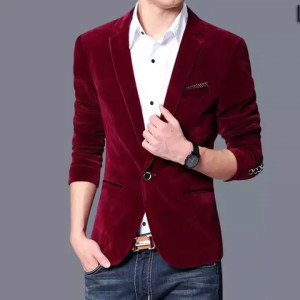 Men's Velvet Wine Red Fashion Suit Blazer