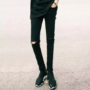 Casual Skinny Knee Hole Jeans Pants - Black