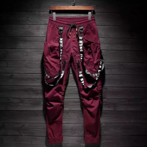 Elastic Waist Slim Fit Personalized Ribbon Street wear Sweatpants - Maroon